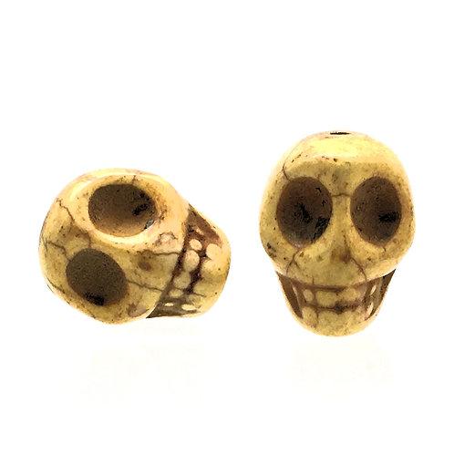 Magnesite Skull Beads • Yellow • 18x14mm (2) • SKULL18-1814YW | SmokyMountainBeads.com