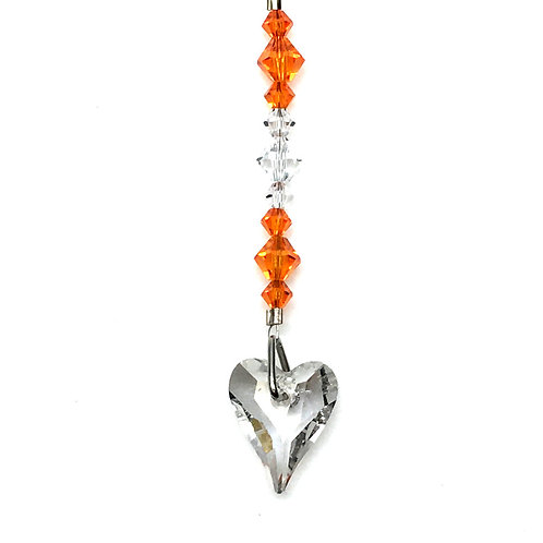 "Crystal Tangerine Wild Heart Suncatcher • Swarovski • 3 1/2"" • 05600SC-6240-001259 | SmokyMountainBeads.com"