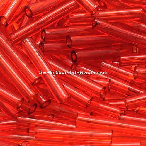 Transparent Red 12x2mm Bugle • 1220-BB-96070 | SmokyMountainBeads.com