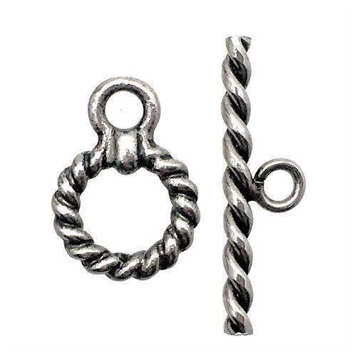 Toggle Clasp • Twisted Round • 16x11mm • Silver-Plated • 44TOG-7047-1611-12 | SmokyMountainBeads.com