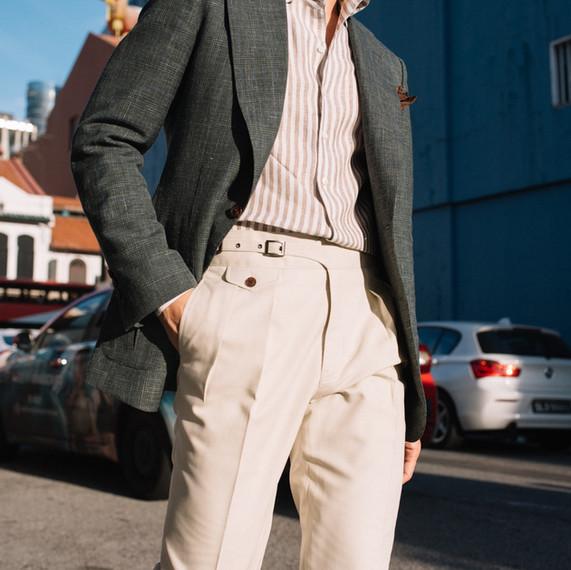 Green Wool Silk Linen Sports Jacket
