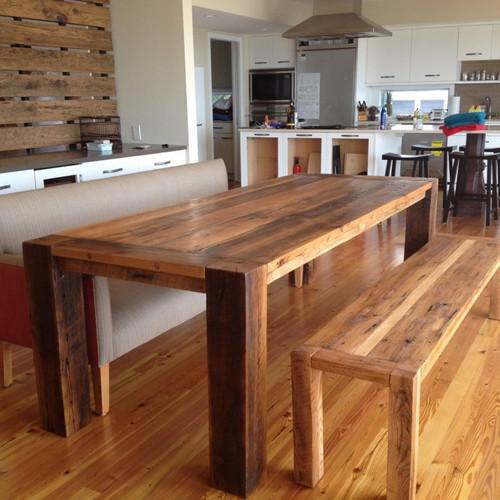 Tables de cuisine en bois massif qu bec rustik meubles design - Table de cuisine en bois massif ...
