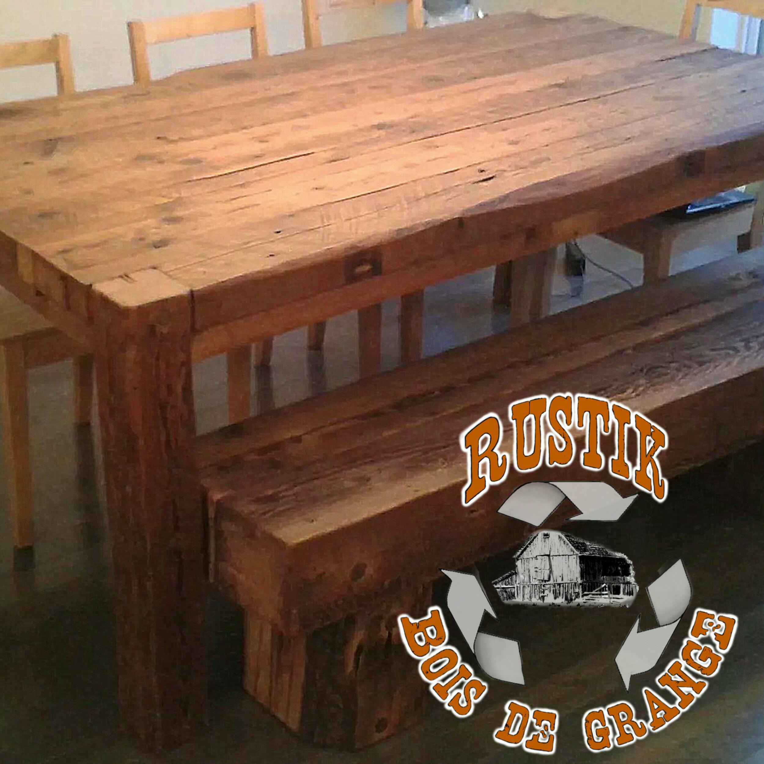 meuble bois massif sur mesure qu bec rustik meubles design table et son banc assorti. Black Bedroom Furniture Sets. Home Design Ideas