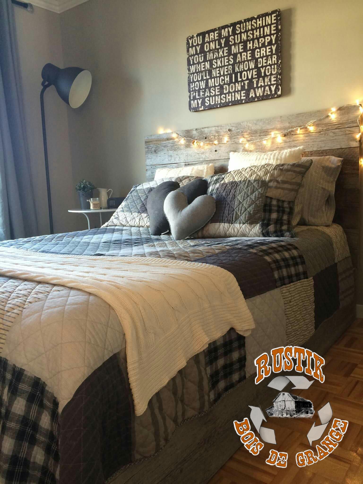 lit en poutre de grange. Black Bedroom Furniture Sets. Home Design Ideas