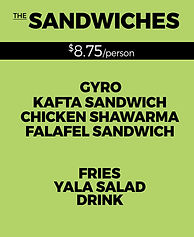 Yala Kol's SANDWICHES Catering Option