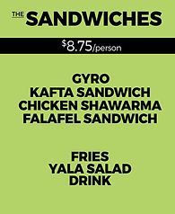 Yala Kol's SANDWICHES Catering Option