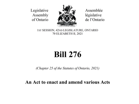 Ontario's Support Recovery and Competitiveness Act, 2021 will bring several big changes