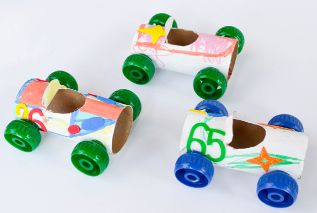 Toilet roll craft for kids cars