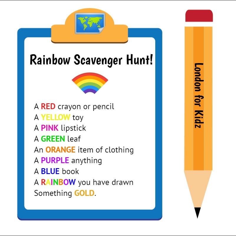 FREE printable rainbow scavenger hunt.