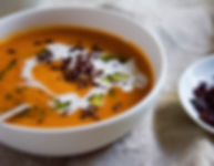 Roast Tomato & Pepper Soup with Olive Crumb