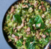 Sautéed Sprout Tops & Cabbage with Bacon, Walnuts & Tarragon Butter
