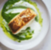 Pan Seared Halibut and Nettle Pesto Squa