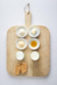 Malt Panna Cotta Tart Ingredients Board.