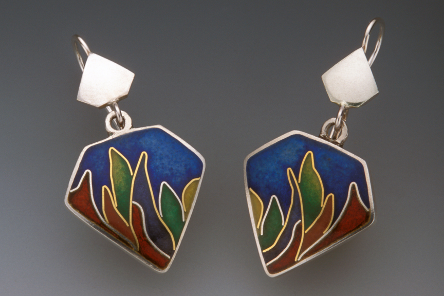 Cloisonné Shield Earrings