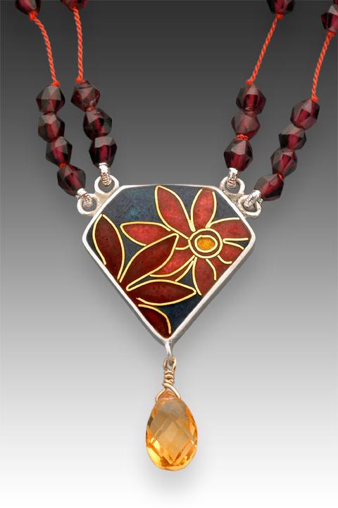 Cloisonné Flower Pendant