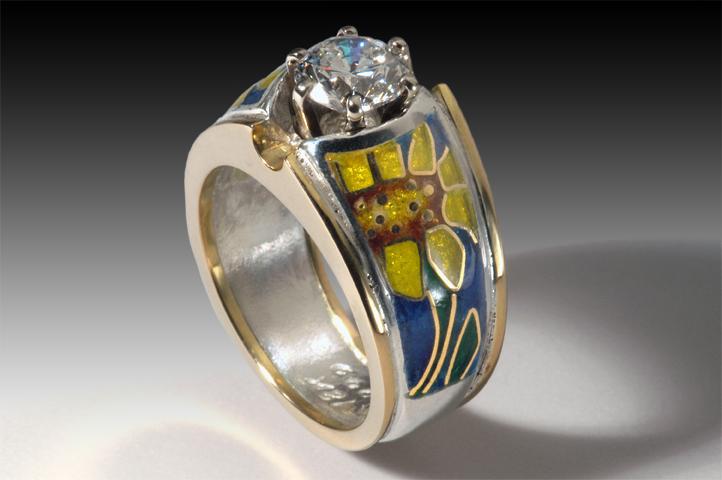 Diamond Sunflower Ring