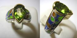 Champlevé Peridot Ring