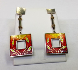 Enameled Cloisonné Earrings