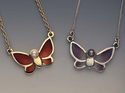 Champlevé Butterfly Pendents