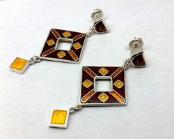 Cloisonné Enameled Dangle Earrings