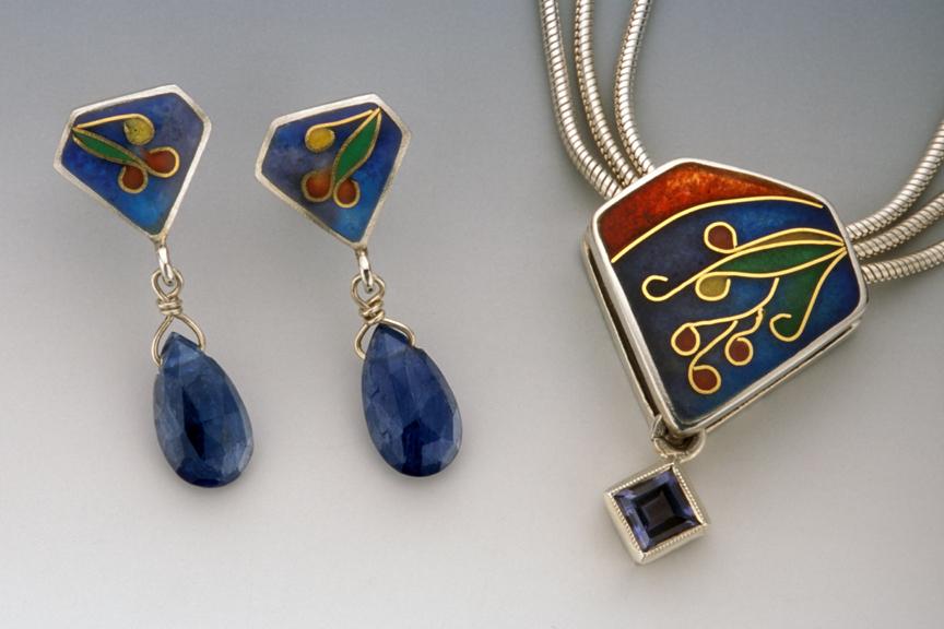 Cloisonné Pendant & Earrings Set