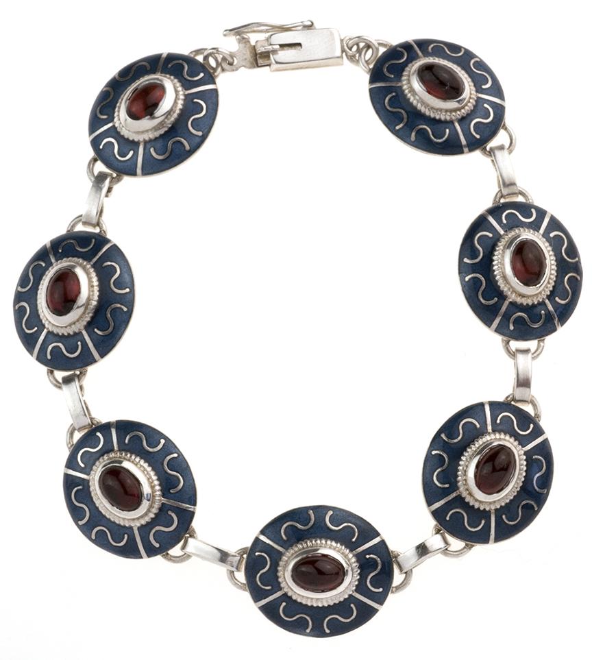 Enamel Panel Bracelet w/ Garnets