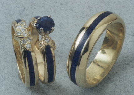 Blue Sapphire Wedding Set