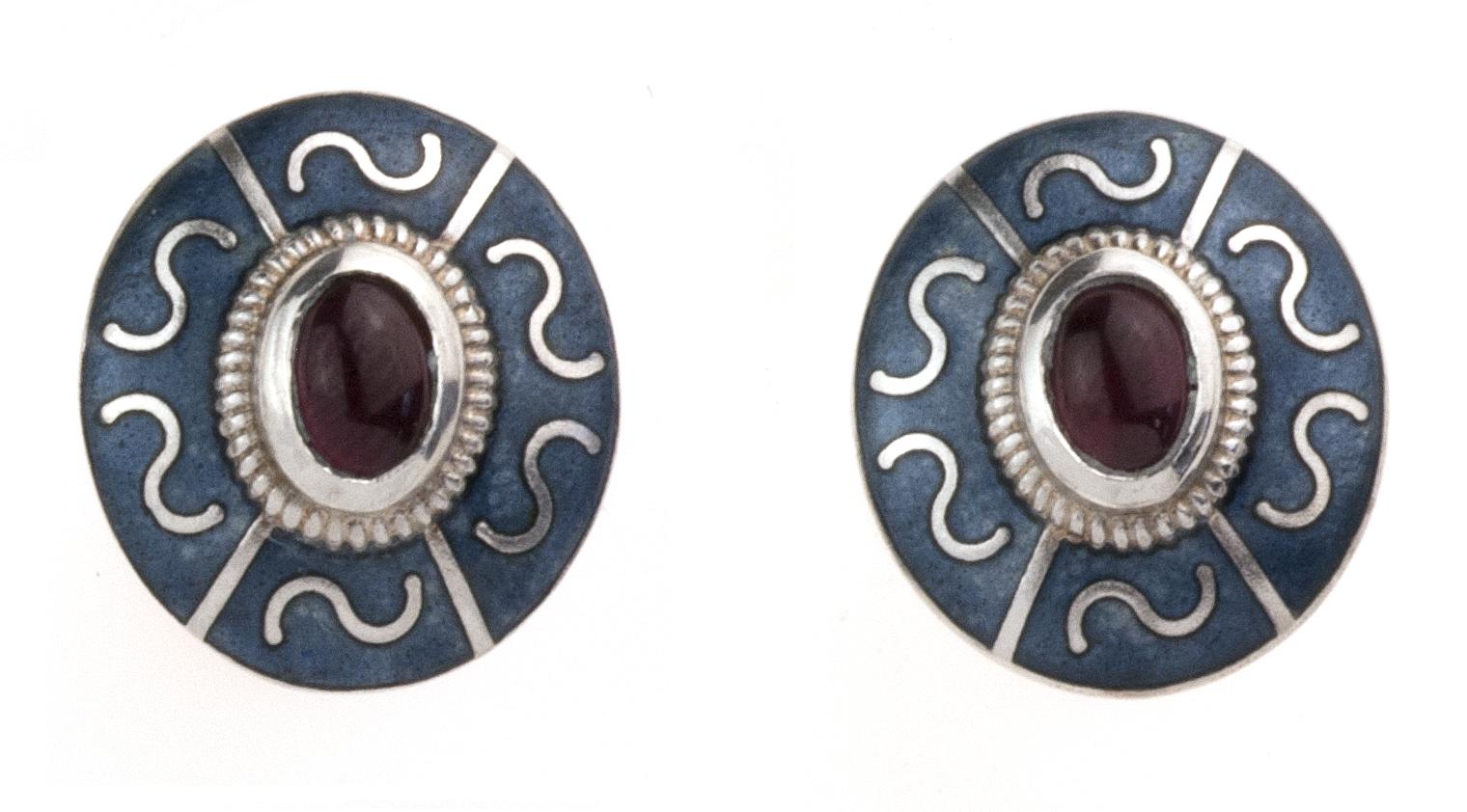 Enamel Panel Earrings w/ Garnets
