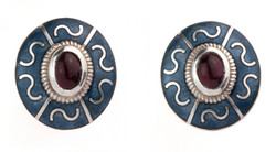 Enamel Panel Earrings w/ Garnets