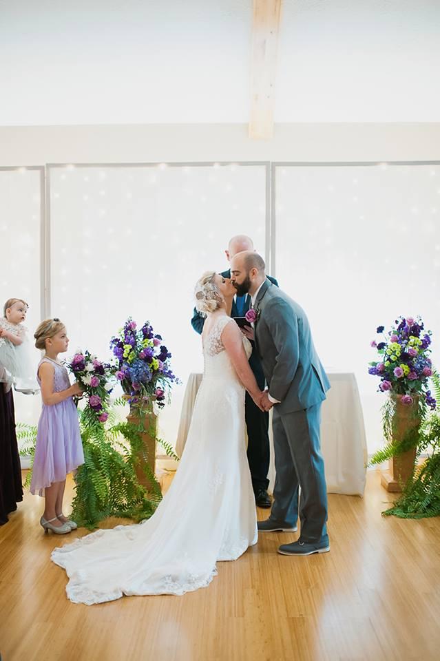 Purple and lime green wedding