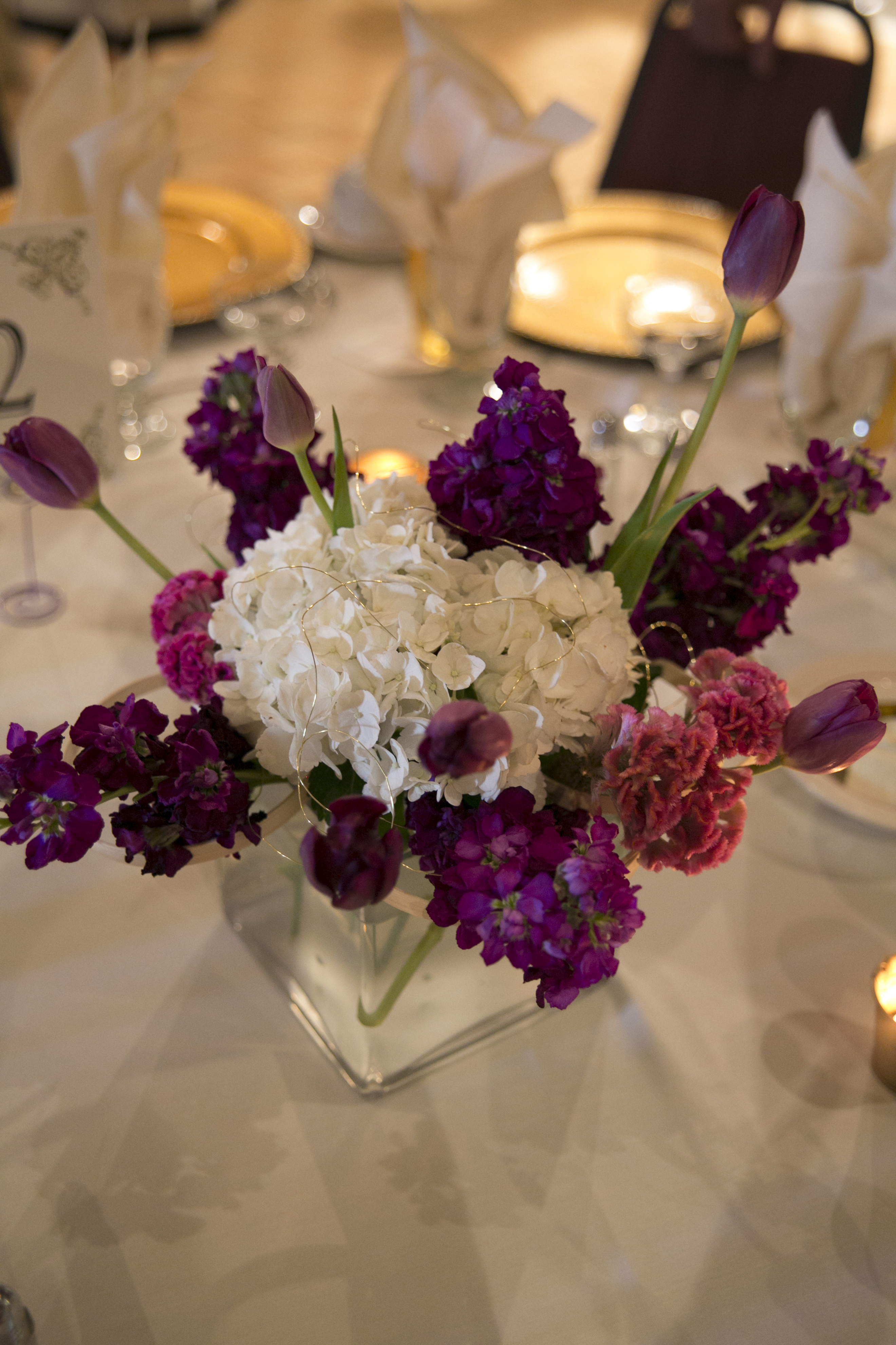 Purple and pink centerpieces