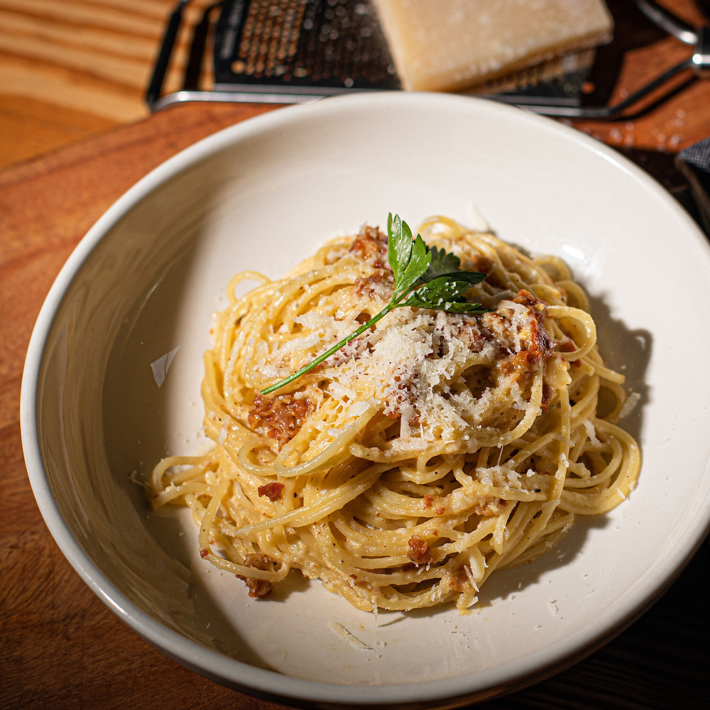 plate of carbonara online cooking class valentine's day experience