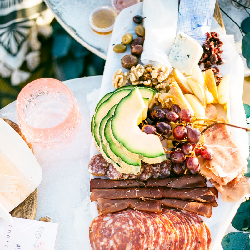 picnic set up with charcuterie