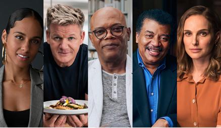 collage of celebrities: alicia keyes, gordon ramsey, samuel l. Jackson, neil degrasse and natalie portman