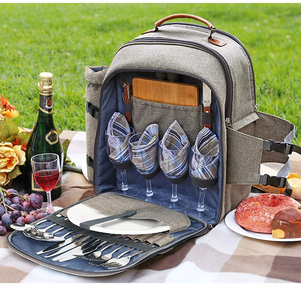 picnic backpack with cups, plates and silverware