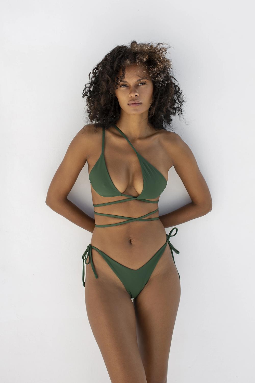 olive green strappy bikini asymmetrical