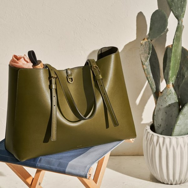 fossil green cactus leather tote with a cactus