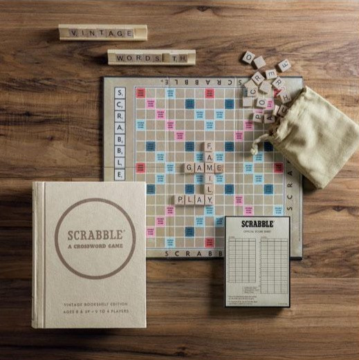 Scrabble classic board game on wooden table