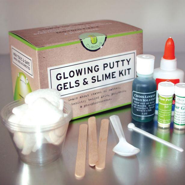 glowing putty kit on metal table