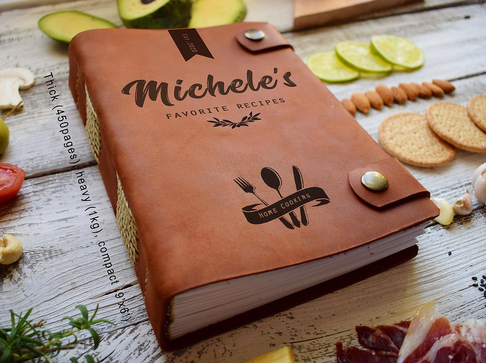 Leather bound personalized blank cookbook heirloom