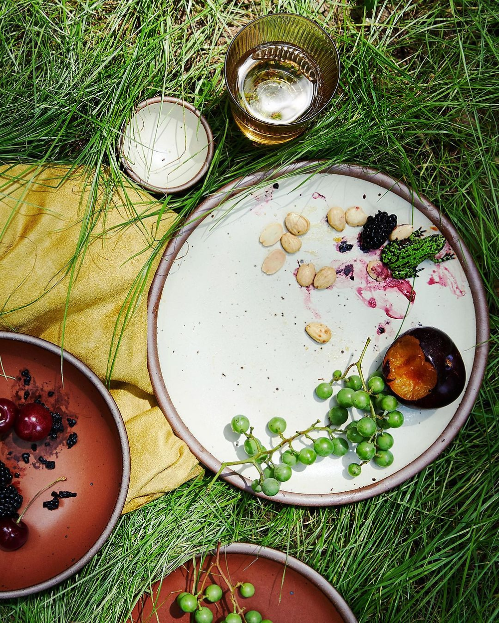 stoneware plates on grass with food on it