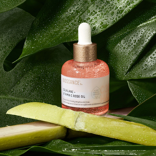 Biossance squalane and vitamin c rose oil in a background of leaves
