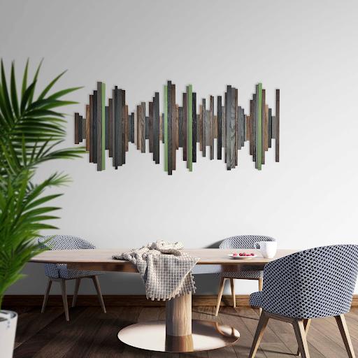 wooden art instillation of sound waves
