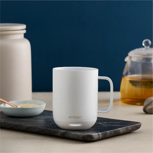 white ember temperature control mug on a slab of marble gifts for new moms