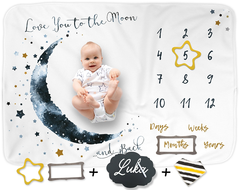 baby laying on a monthly milestone blanket with watercolor moon and stars