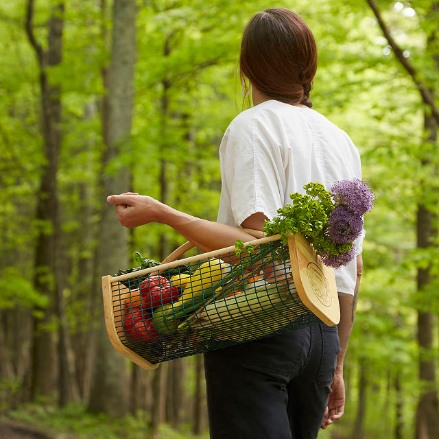 woman in a forest carrying a mesh harvest basket with vegetables and flowers in it