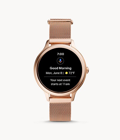 gold watch with google calendar notification on the black watch display fossil gen5e smartwatch google os wear