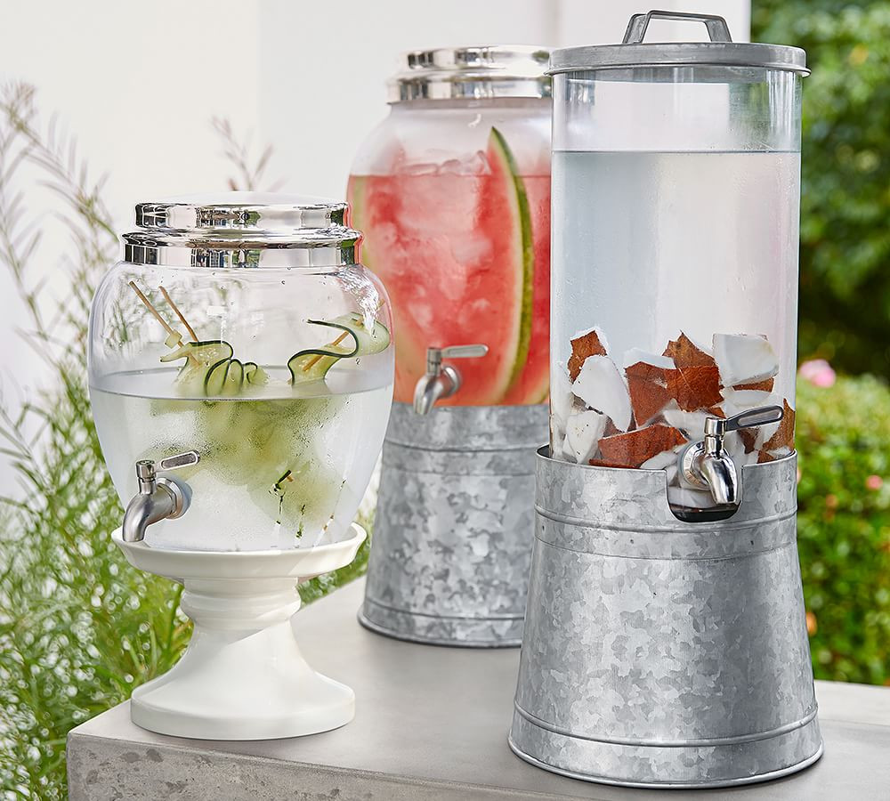 three glass drink dispensers 4th of july gift