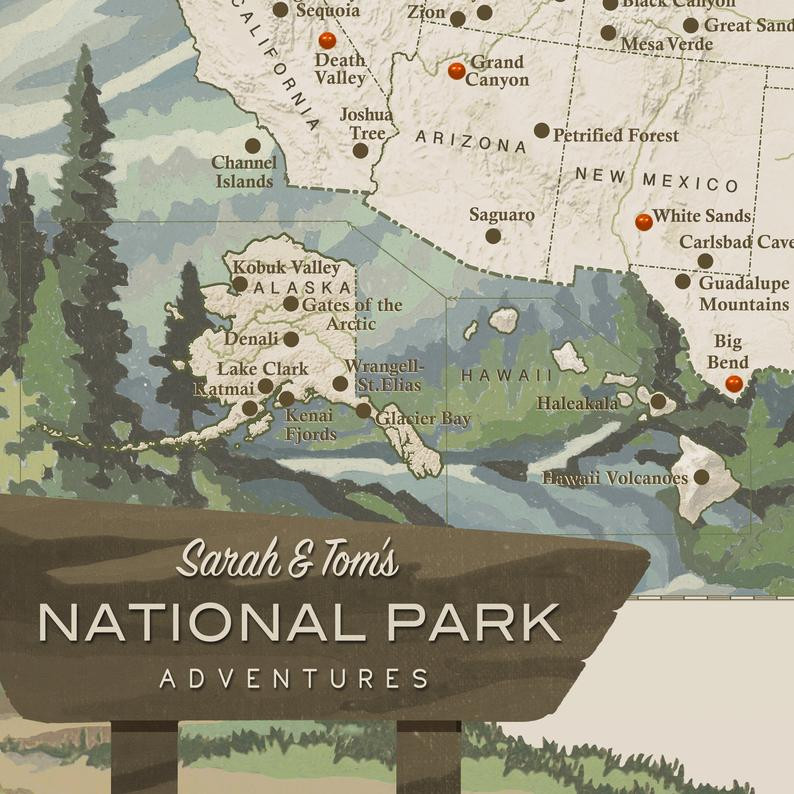 illustrated and personalized map of U.S. national parks with push pins