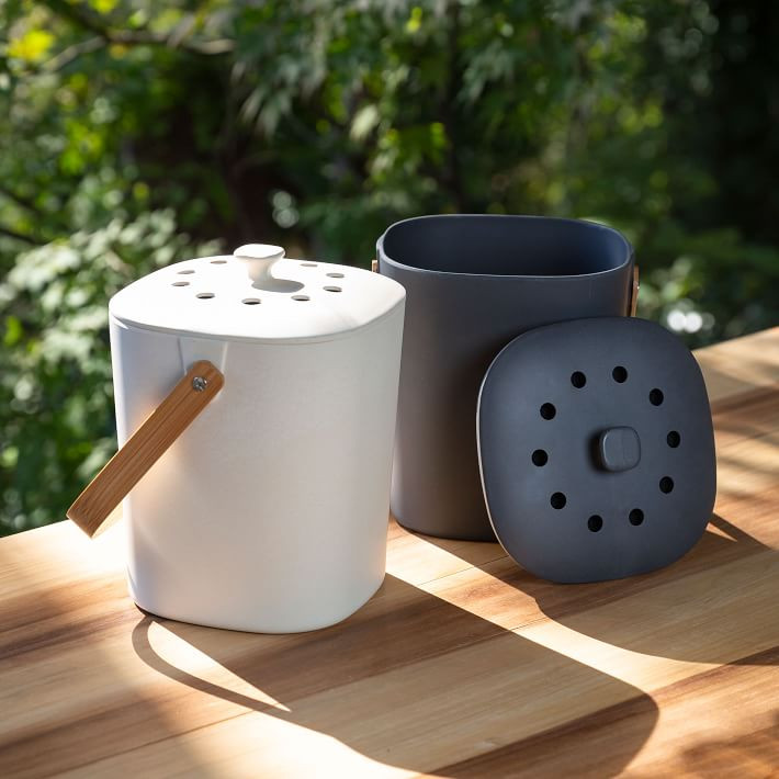 slate grey and white compost bins on wooden table housewarming gift